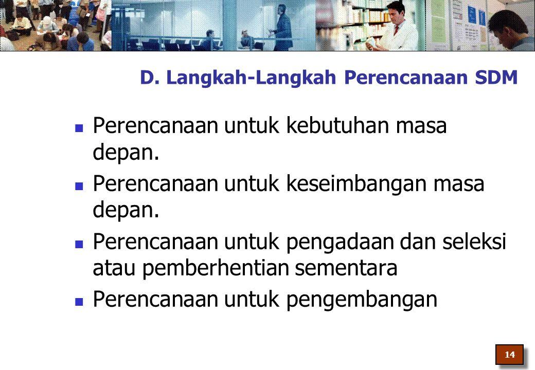 D. Langkah-Langkah Perencanaan SDM