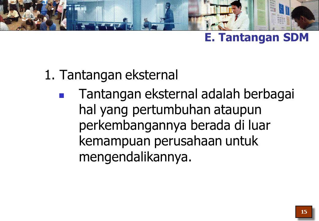 E. Tantangan SDM 1. Tantangan eksternal.