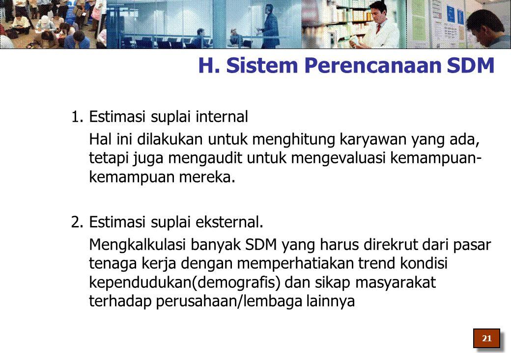 H. Sistem Perencanaan SDM