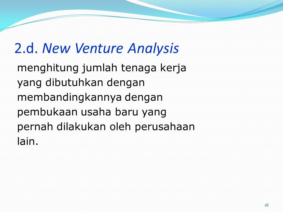2.d. New Venture Analysis menghitung jumlah tenaga kerja