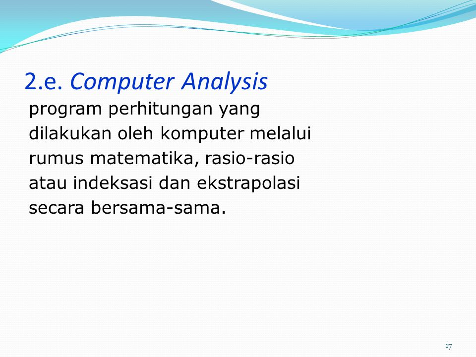 2.e. Computer Analysis program perhitungan yang