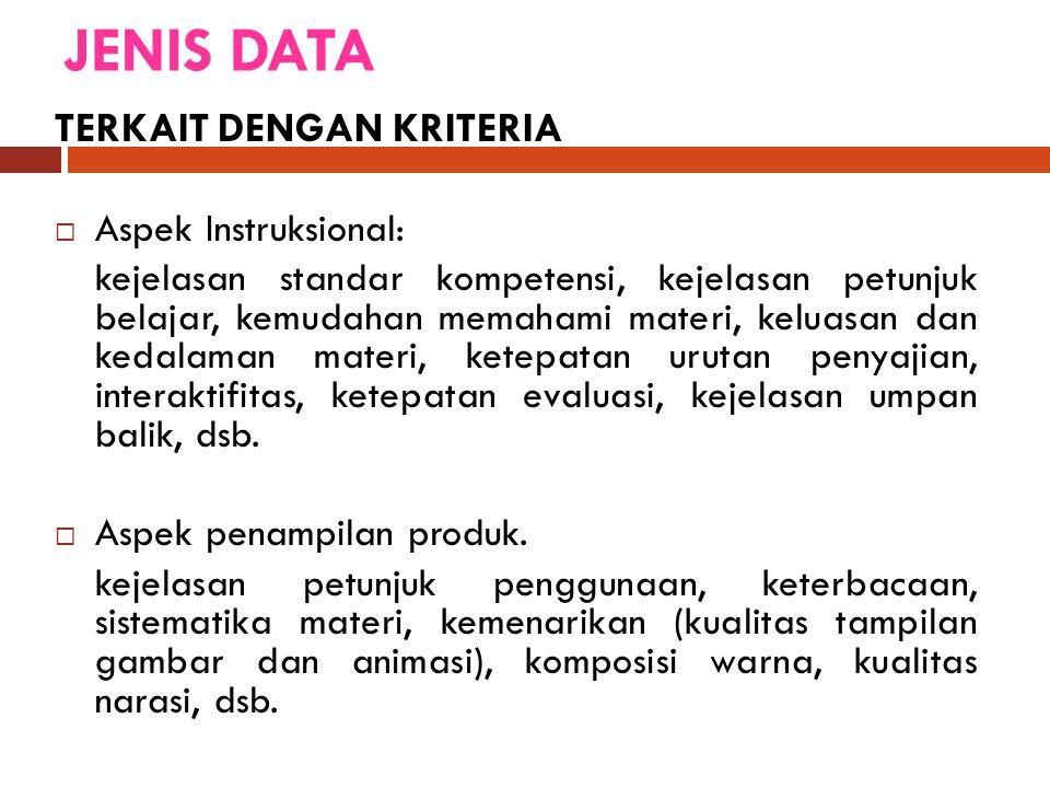 JENIS DATA TERKAIT DENGAN KRITERIA Aspek Instruksional: