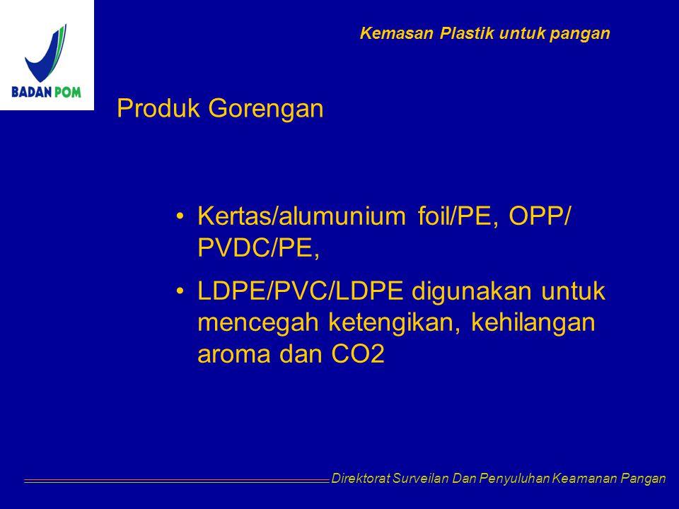 Kertas/alumunium foil/PE, OPP/ PVDC/PE,
