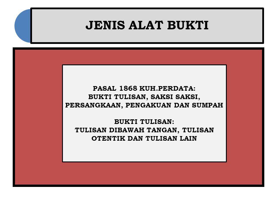 JENIS ALAT BUKTI PASAL 1868 KUH.PERDATA: