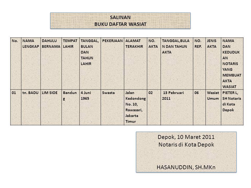 Depok, 10 Maret 2011 Notaris di Kota Depok HASANUDDIN, SH.MKn SALINAN