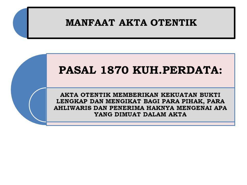 PASAL 1870 KUH.PERDATA: MANFAAT AKTA OTENTIK