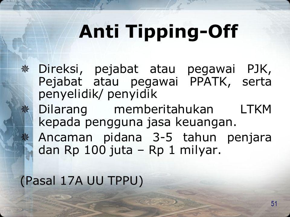 Anti Tipping-Off Direksi, pejabat atau pegawai PJK, Pejabat atau pegawai PPATK, serta penyelidik/ penyidik.