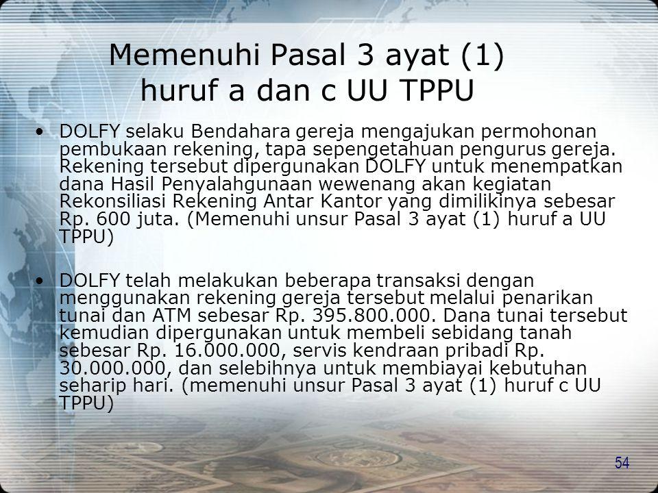 Memenuhi Pasal 3 ayat (1) huruf a dan c UU TPPU