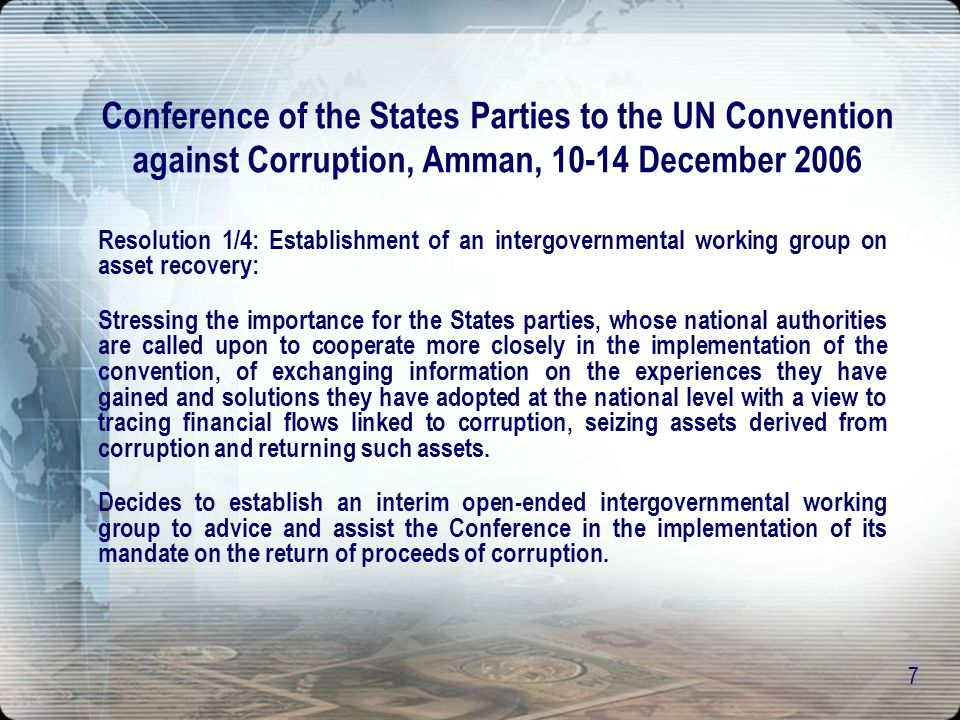 Conference of the States Parties to the UN Convention against Corruption, Amman, 10-14 December 2006