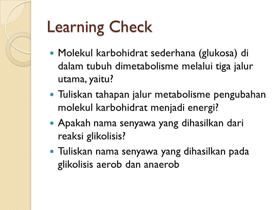 Learning Check Molekul karbohidrat sederhana (glukosa) di dalam tubuh dimetabolisme melalui tiga jalur utama, yaitu
