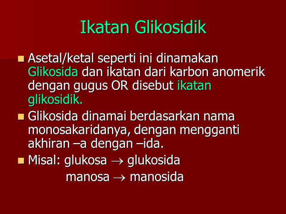 Ikatan Glikosidik Asetal/ketal seperti ini dinamakan Glikosida dan ikatan dari karbon anomerik dengan gugus OR disebut ikatan glikosidik.