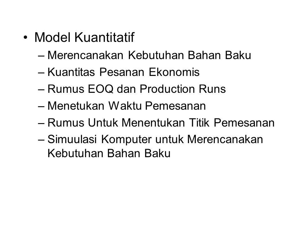 Model Kuantitatif Merencanakan Kebutuhan Bahan Baku