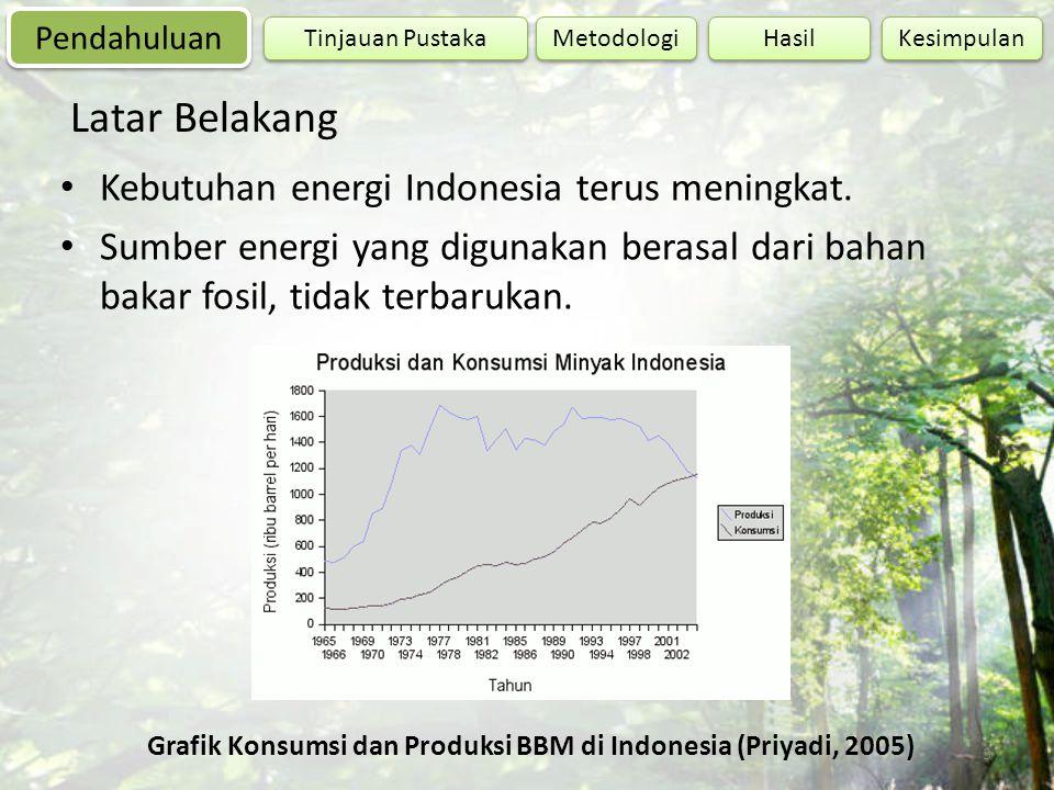 Grafik Konsumsi dan Produksi BBM di Indonesia (Priyadi, 2005)