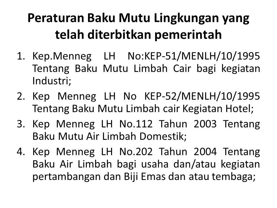 Peraturan Baku Mutu Lingkungan yang telah diterbitkan pemerintah