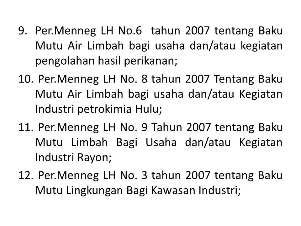 Per.Menneg LH No.6 tahun 2007 tentang Baku Mutu Air Limbah bagi usaha dan/atau kegiatan pengolahan hasil perikanan;
