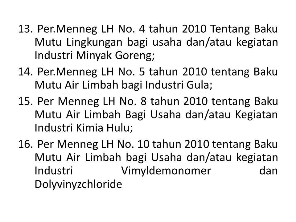 Per.Menneg LH No. 4 tahun 2010 Tentang Baku Mutu Lingkungan bagi usaha dan/atau kegiatan Industri Minyak Goreng;