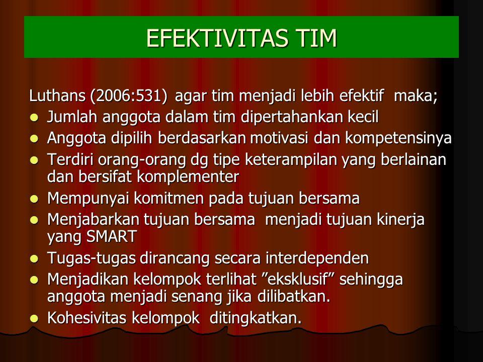 EFEKTIVITAS TIM Luthans (2006:531) agar tim menjadi lebih efektif maka; Jumlah anggota dalam tim dipertahankan kecil.