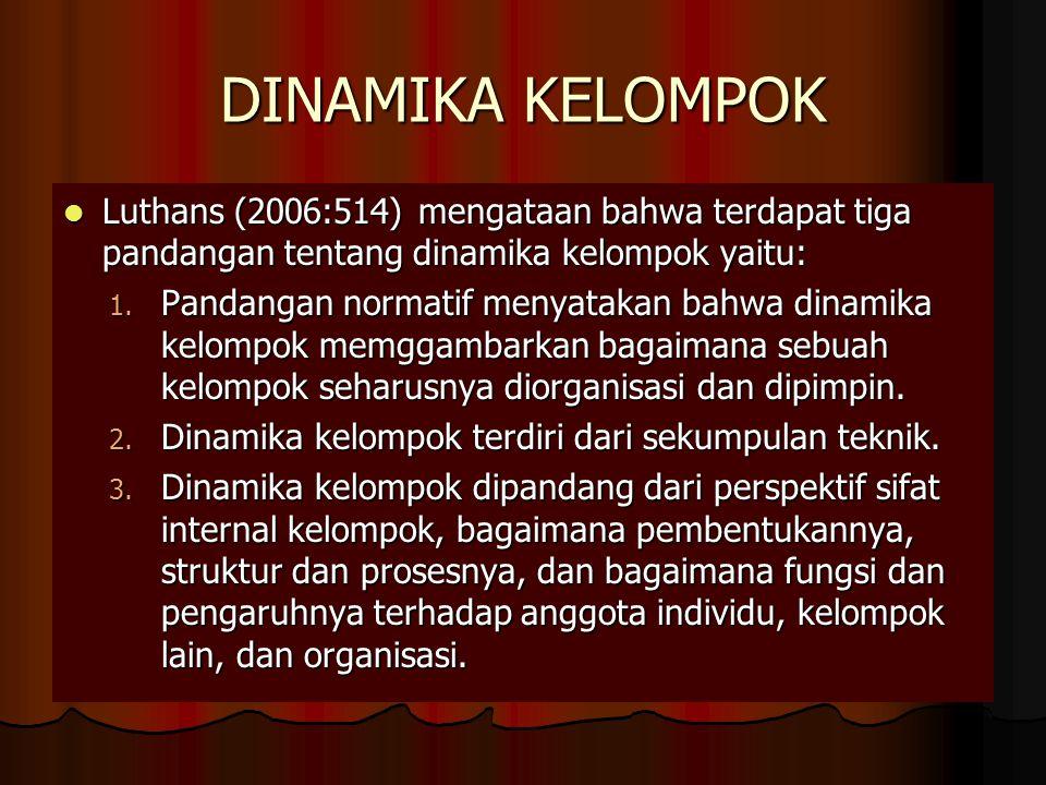 DINAMIKA KELOMPOK Luthans (2006:514) mengataan bahwa terdapat tiga pandangan tentang dinamika kelompok yaitu: