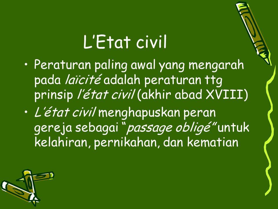 L'Etat civil Peraturan paling awal yang mengarah pada laїcité adalah peraturan ttg prinsip l'état civil (akhir abad XVIII)