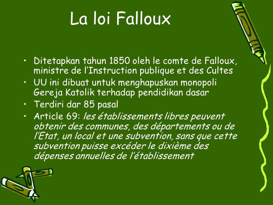 La loi Falloux Ditetapkan tahun 1850 oleh le comte de Falloux, ministre de l'Instruction publique et des Cultes.