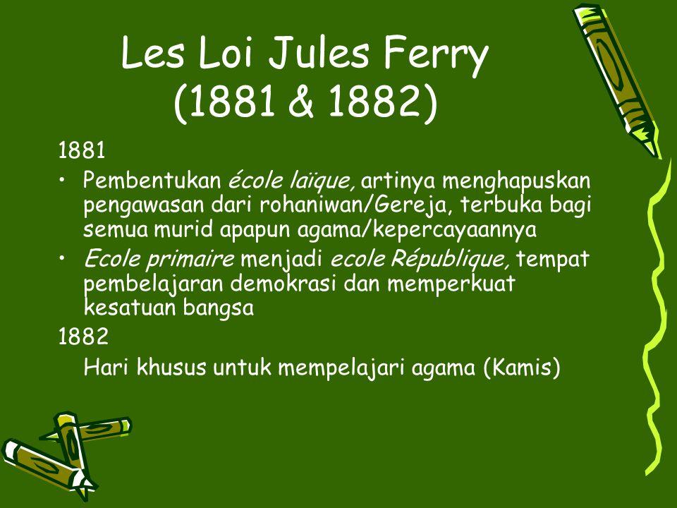 Les Loi Jules Ferry (1881 & 1882) 1881.