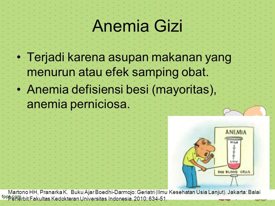Anemia Gizi Terjadi karena asupan makanan yang menurun atau efek samping obat. Anemia defisiensi besi (mayoritas), anemia perniciosa.