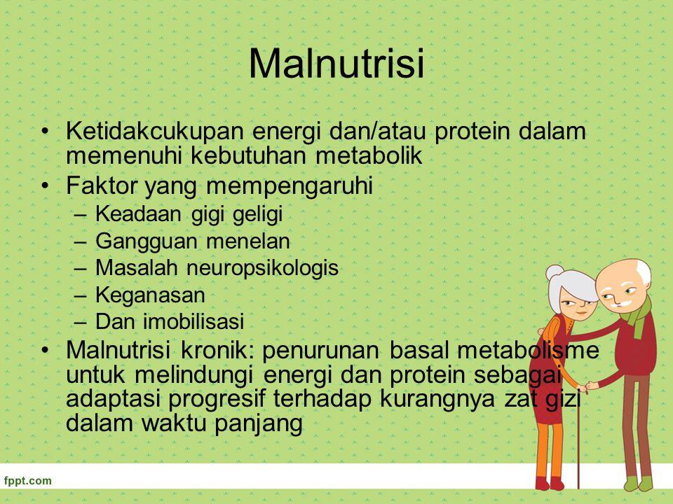 Malnutrisi Ketidakcukupan energi dan/atau protein dalam memenuhi kebutuhan metabolik. Faktor yang mempengaruhi.