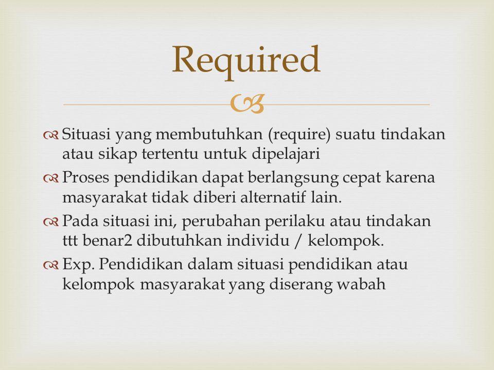 Required Situasi yang membutuhkan (require) suatu tindakan atau sikap tertentu untuk dipelajari.