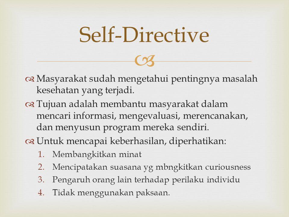 Self-Directive Masyarakat sudah mengetahui pentingnya masalah kesehatan yang terjadi.