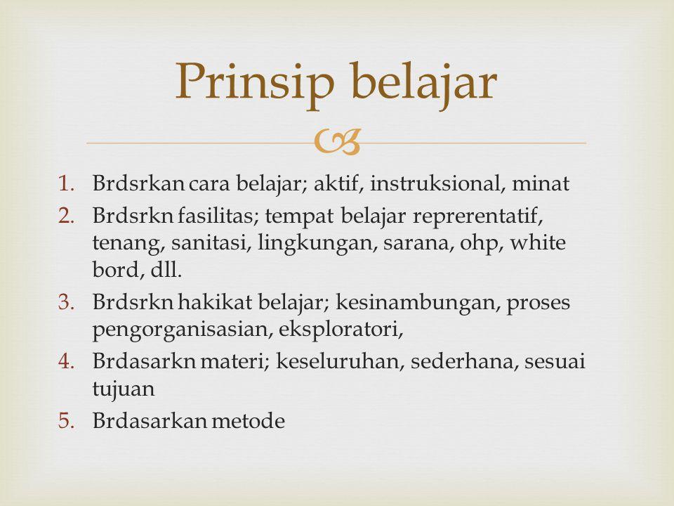 Prinsip belajar Brdsrkan cara belajar; aktif, instruksional, minat