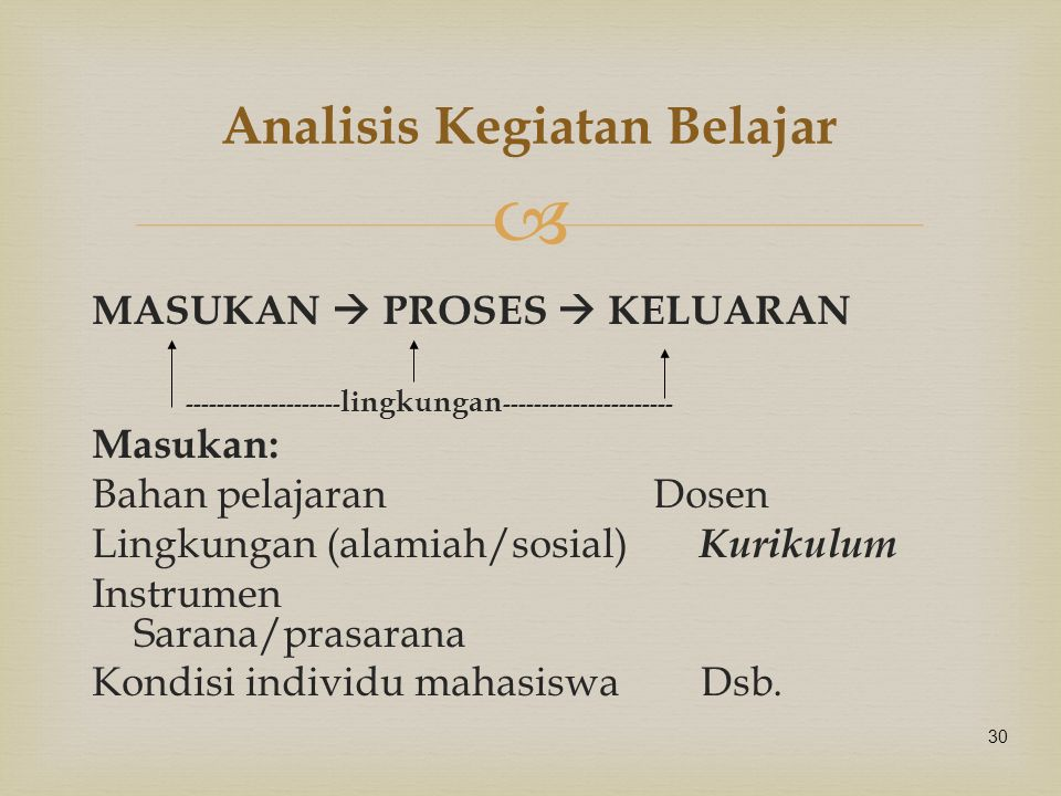 Analisis Kegiatan Belajar