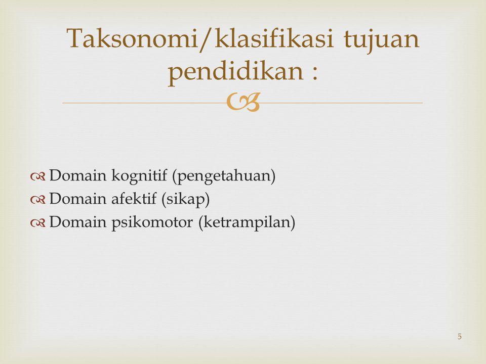 Taksonomi/klasifikasi tujuan pendidikan :