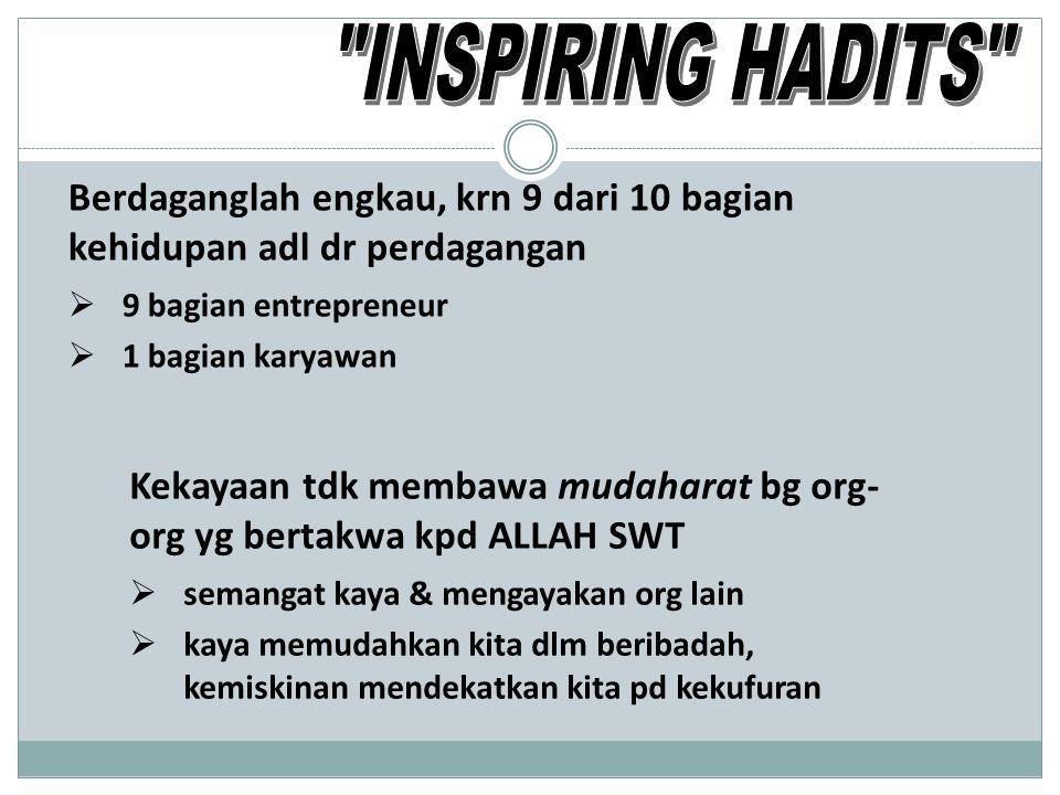 INSPIRING HADITS Berdaganglah engkau, krn 9 dari 10 bagian kehidupan adl dr perdagangan. 9 bagian entrepreneur.