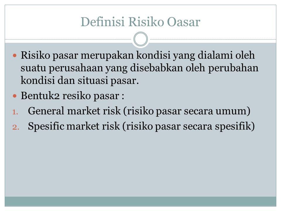 Definisi Risiko Oasar Risiko pasar merupakan kondisi yang dialami oleh suatu perusahaan yang disebabkan oleh perubahan kondisi dan situasi pasar.