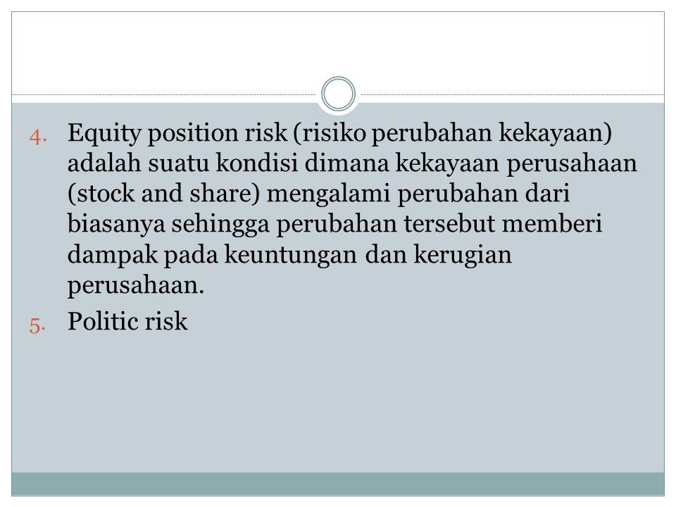 Equity position risk (risiko perubahan kekayaan) adalah suatu kondisi dimana kekayaan perusahaan (stock and share) mengalami perubahan dari biasanya sehingga perubahan tersebut memberi dampak pada keuntungan dan kerugian perusahaan.