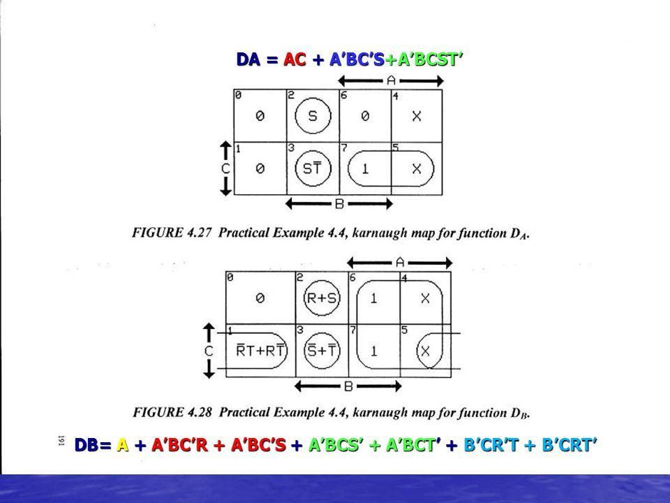 DA = AC + A'BC'S+A'BCST'