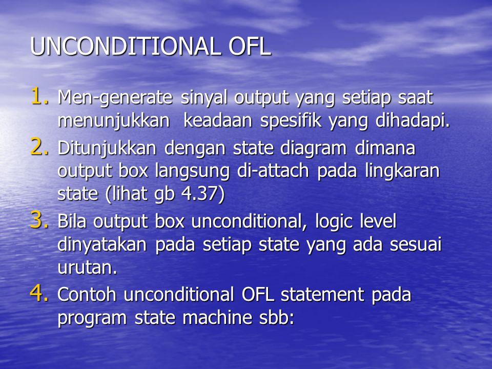 UNCONDITIONAL OFL Men-generate sinyal output yang setiap saat menunjukkan keadaan spesifik yang dihadapi.