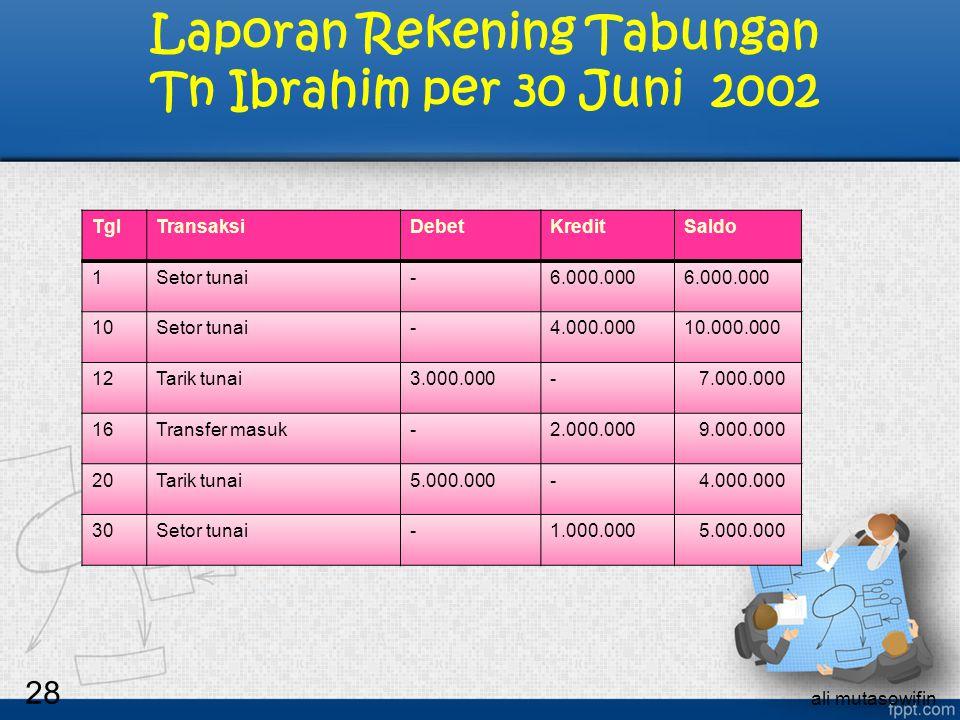 Laporan Rekening Tabungan Tn Ibrahim per 30 Juni 2002
