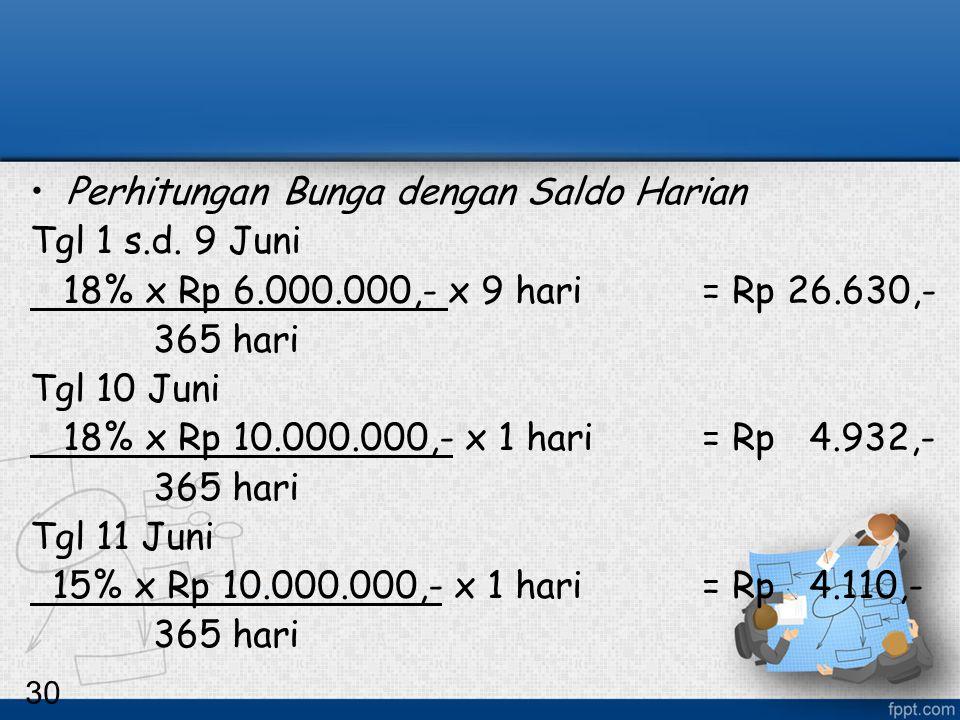 Perhitungan Bunga dengan Saldo Harian Tgl 1 s.d. 9 Juni