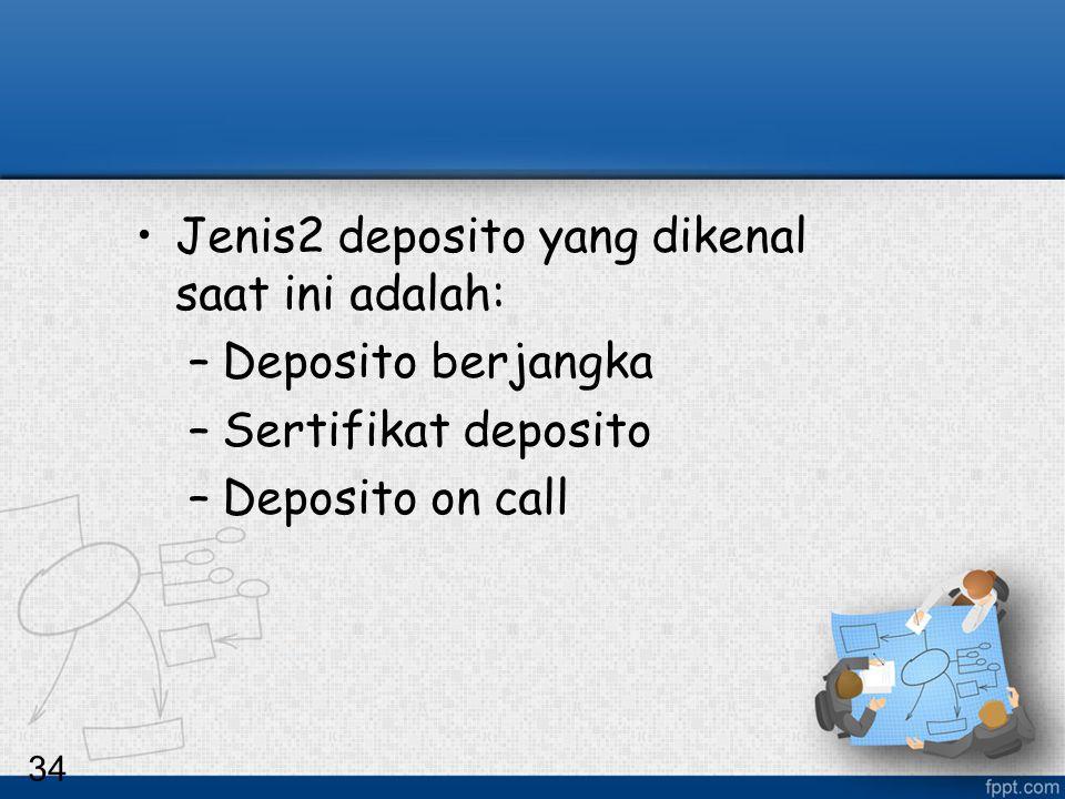 Jenis2 deposito yang dikenal saat ini adalah: Deposito berjangka