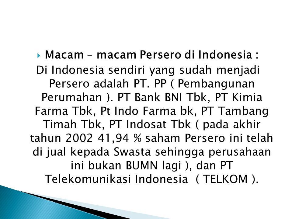Macam – macam Persero di Indonesia :