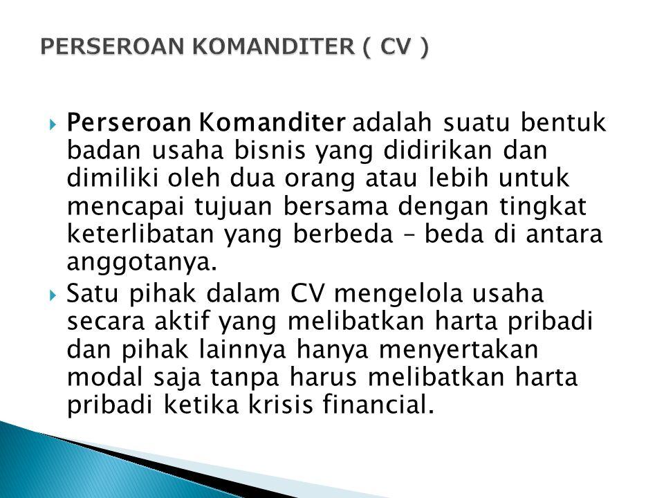 PERSEROAN KOMANDITER ( CV )