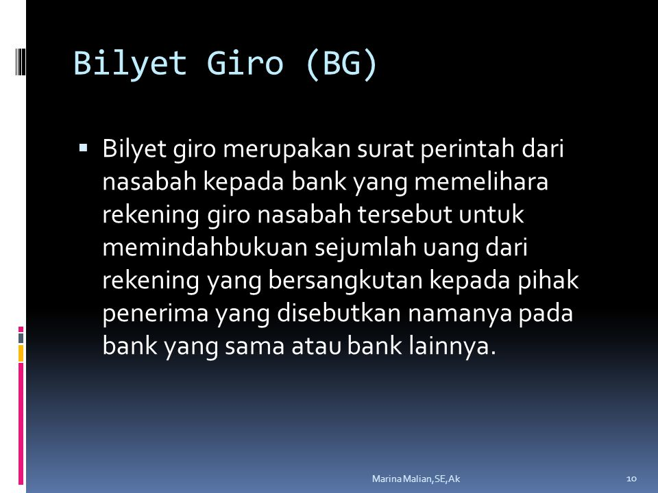 Bilyet Giro (BG)