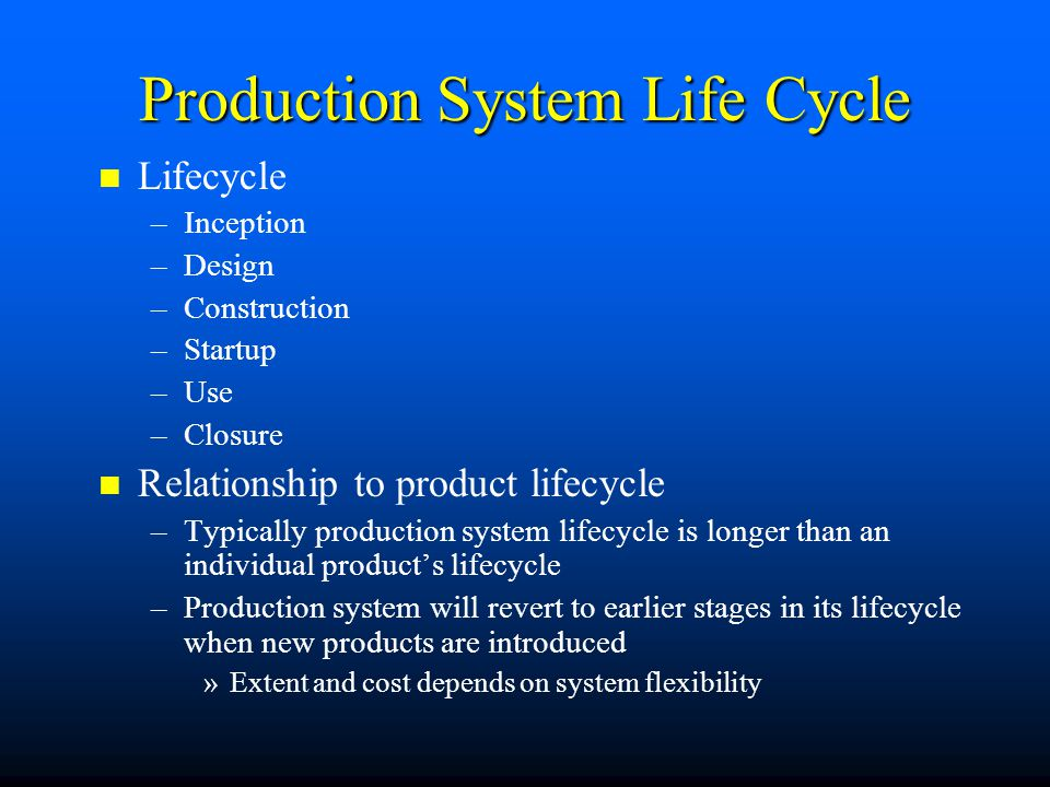 Production System Life Cycle
