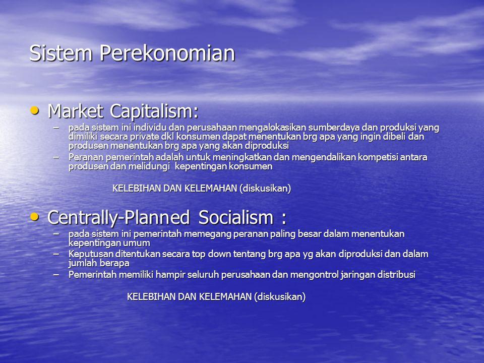 Sistem Perekonomian Market Capitalism: Centrally-Planned Socialism :