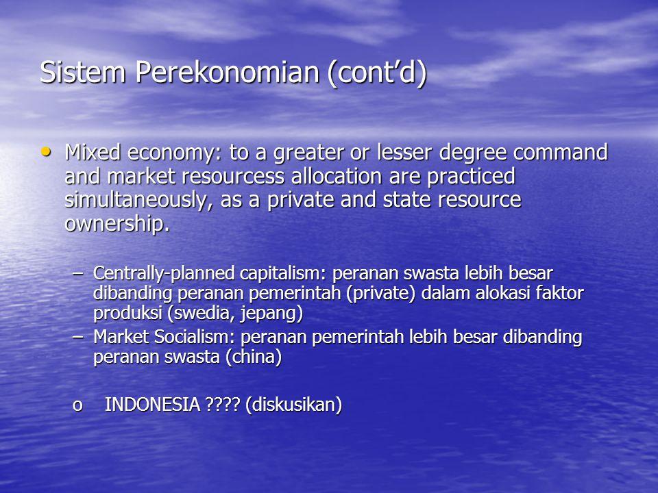Sistem Perekonomian (cont'd)
