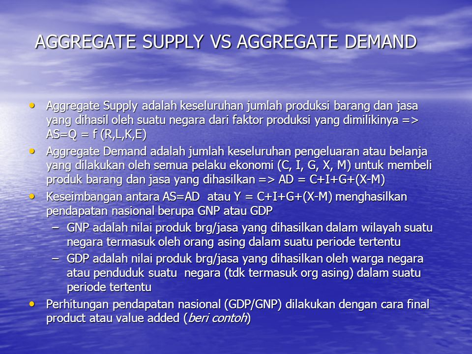 AGGREGATE SUPPLY VS AGGREGATE DEMAND