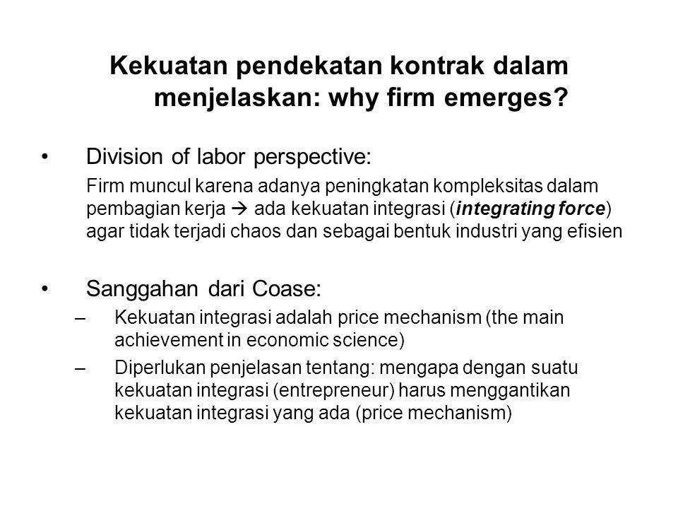 Kekuatan pendekatan kontrak dalam menjelaskan: why firm emerges