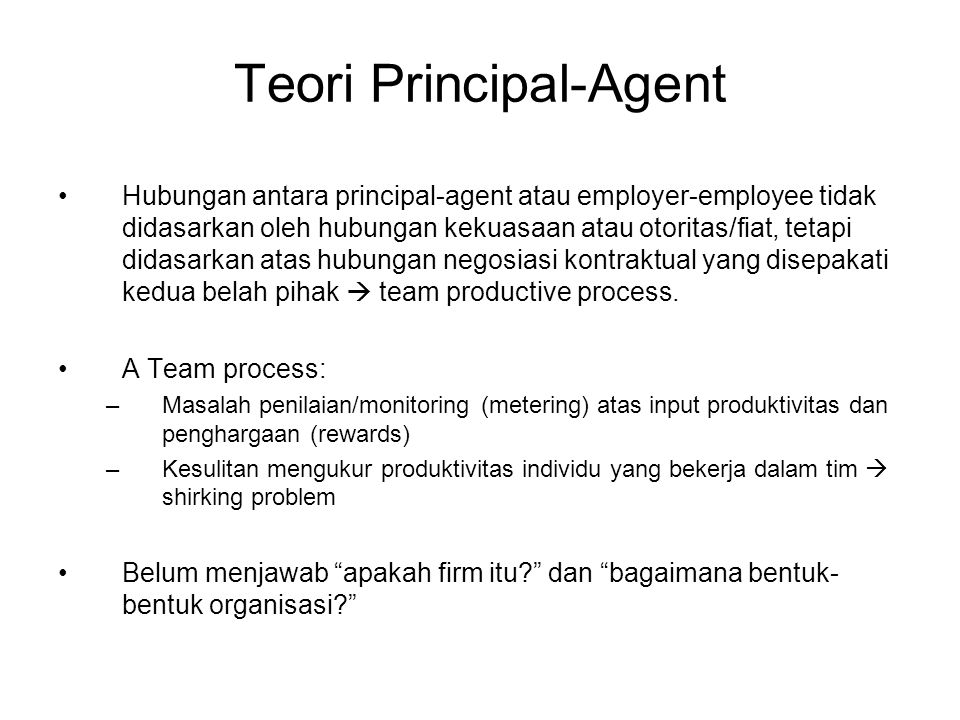 Teori Principal-Agent