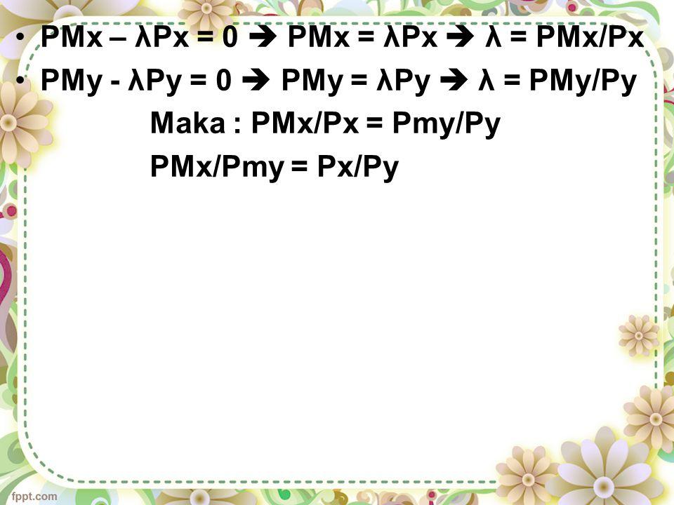 PMx – λPx = 0  PMx = λPx  λ = PMx/Px
